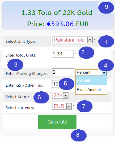 Gold jewelry Price Calculator of 22k, 21K, 18k, 14K (Gram